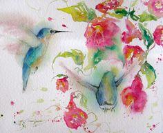 hummingbird original watercolor signed print giclee abstract garden flower landscape bird in flight