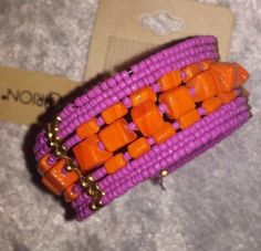Beaded-Cuff-Bracelet-Square-Chunky-Orange-and-Pink-Seed-Beads-Orion