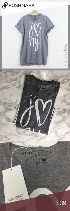 SINCERELY JULES • j' ❤️ NY grey t-shirt • super soft heathered grey tee • Sincerely JULES is designed by famous LA blogger Julie Sariñana. • roll up the sleeves just like Julie for a more casual vibe  100% cotton Machine wash cold  See Sincerely Jules posting for size chart  @mikimakes • Feel free to ask any questions • Sorry, no trades Sincerely Jules Tops Tees - Short Sleeve