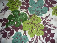 Vtg Barkcloth Fabric Mid Century Modern Green Leaves Yosemite Miramar NEVER USED