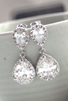 Pear Drop Luster Rhodium Plated Cubic Zirconia Clear