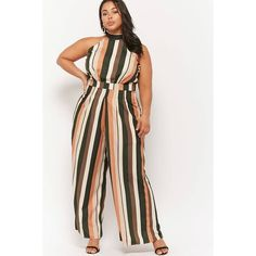 55a34d981c83 Forever21 Plus Size Striped High-Neck Jumpsuit ( 48) ❤ liked on Polyvore  featuring jumpsuits