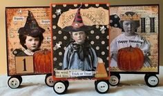 From the art archives...little ATC size wood Boo Blocks using Paper Whimsy images. #sugarlumpstudios #atc #mixedmedia #assemblage #art #halloween #halloweenart #pumpkin #paperwhimsy #wood #collageart #papercollage #paperwhimsyart