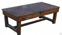 OLD FARMHOUSE FARM COFFEE TABLE PAINTED COUNTRY PRIMITIVE PINE BENCH DISTRESSED #NaivePrimitive