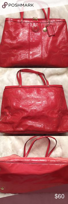 EUC COACH Kisslock Patent Leather Tote COACH#K1276-F19215. Clean liner. Has two compartments. Good straps. No scuffs. Has two faint dot on the side shown in pic and the bottom has a faint dirty spot. Measures 9x14 Coach Bags Totes