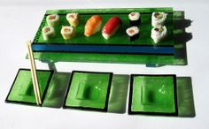 Fused glass SUSHI SET  Amazing green 4 pieces sushi by DecoLoisir, €65.00
