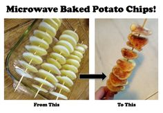 microwave baked potato chips - slice, skewer, place over pyrex baker - microwave for 4 minutes, rotate, microwave another few minutes Recipes Appetizers And Snacks, Snack Recipes, Cooking Recipes, Healthy Fruits, Healthy Snacks, Microwave Potato Chips, Easy Baked Potato, Good Food, Yummy Food