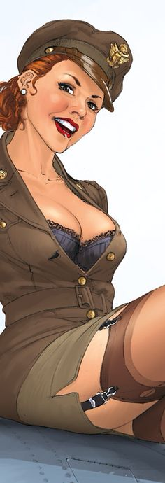 A close up for detail of the beautiful pinup - ahem, I mean sergeant - from Romain Hugault.