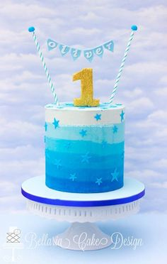 Toddler Boy Blue Birthday Cake Ombre Blues asoucycom Cakes