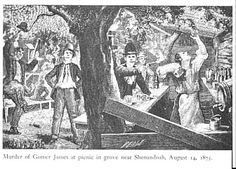 Murder of Gower James at picnic grove near Shenandoah, August 14, 1875.