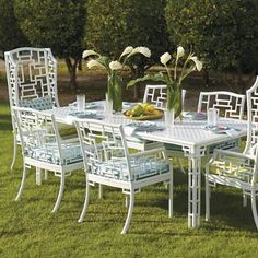 Dramatic design, theatrical flair and a touch of playfulness-our Ibis Isle Seating collection was exclusively designed for Frontgate by Carleton Varney. At center stage is a latticework motif, especially notable on highback dining chairs and gracing table legs. Powdercoated cast aluminum is corrosion resistant The look captures traditional Chippendale design with a whimsical twist Refined fluted legs add flair to angular pattern on backs Side Table and Coffee Table require ass...