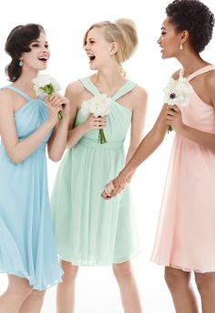 A mix of pastels on your 'maids is perfect for a springtime affair. #davidsbridal #bridesmaids #springweddings