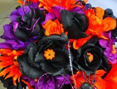 halloween wedding bouquet.  black orange and purple