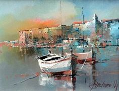 Branko Dimitrijevic, Fishing Boats, Oil on Canvas, Seascape Paintings, Landscape Paintings, Renoir Paintings, Boat Art, Boat Painting, Acrylic Art, Fishing Boats, Art Oil, Painting Inspiration
