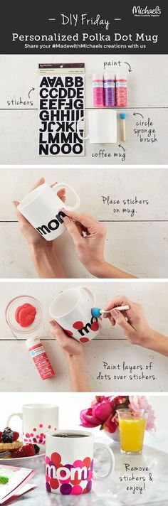 DIY Personalized Polka Dot Mug