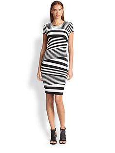 Now that is what I call stripes.  Brand/Designer: Bailey 44 Print: Striped Print Material: Jersey /Rayon /Spandex Dress Silhouette: Bodycon Shoulder: Short-Sleeves Neckline: Round Neck Waistline: Empire Waistline Natural Waistline Embellishments: Asymmetric Pullover Available Colors: Black White