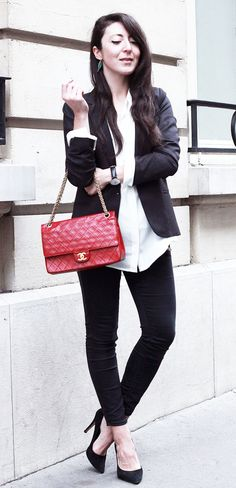 Pair black with white and add a dash of red to create Stylish Work Outfits. #work #outfits