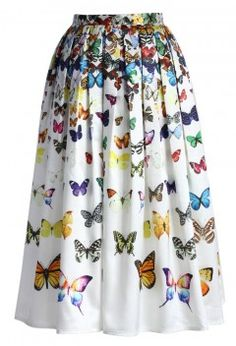 Dreamy Butterfly Pleated Midi Skirt in White - Bottoms - Retro, Indie and Unique Fashion $43.49