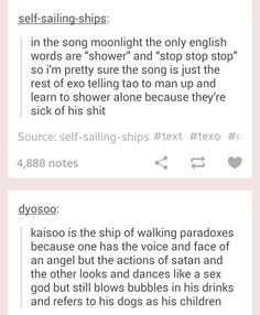 XD And THAT everybody is the otp that i will never not ship HAHAHA KAISOO FTW <3 Also, only kris can put up with showering with tao,,,, Taoris everybody~