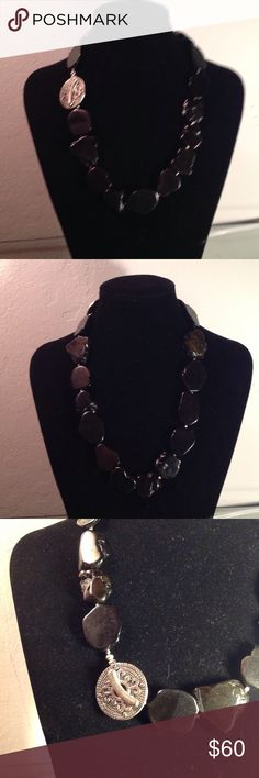 BLACK SLAB AGATE? Necklace This is a really nice statement piece.  It has a very nice class but it is not made of sterling silver. Jewelry Necklaces