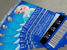 """Disney's Frozen Birthday Party/Event Ticket Invitation (2.5"""" x 7"""") - 2 Designs included!"""