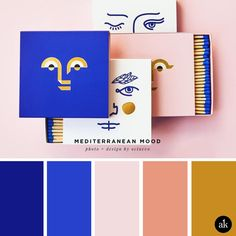 a Mediterranean-matchbox-inspired color palette // Mediterranean blue, blush / pink, salmon, gold // photo and design by octaevo Pink Palette, Blue Colour Palette, Blue Color Schemes, Gold Color Scheme, Blue Color Pallet, Vintage Colour Palette, Palette Art, Pantone Colour Palettes, Pantone Color