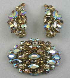 VTG Sherman Topaz AB Rhinestone Brooch PIN Clipon Earrings SET ALL PCS Signed | eBay