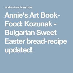 Annie's Art Book- Food: Kozunak - Bulgarian Sweet Easter bread-recipe updated!