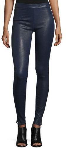 Elizabeth and James Xavier Zip-Trim Leather Leggings, Royal