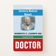 Customized Name and Photo Doctor ID Card Badge Doctor Names, Diy Doctor, Doctor Gifts, Identity Card Design, Camera Life, Surgeon Doctor, Dramatic Play, Id Badge