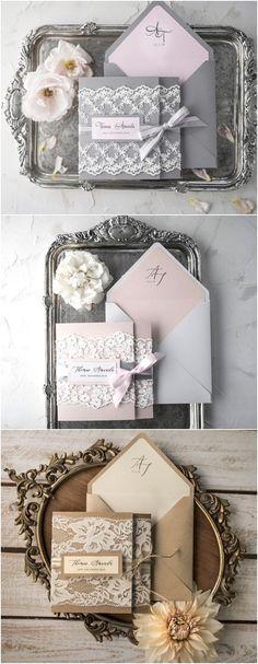 Vintage lace wedding invitations #weddinginvitation