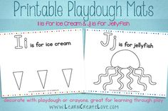 Printable Playdough Mats: I & J from LearnCreateLove.com