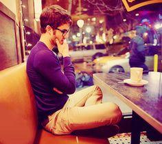 Darren Criss. Coffee shop. LAUREN LOOK AT THIS PICTURE! Hot guy drinking tea ;)