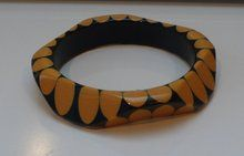Bakelite Vintage Black and Cream Injected Dot Bangle  I really love this one, I think Brandon is making me one like this.