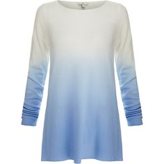 Joie Jobeth Blue Ombre Cashmere Sweater found on Polyvore featuring tops, sweaters, blue, blue long sleeve top, lightweight sweaters, blue top, wool cashmere sweater and joie tops