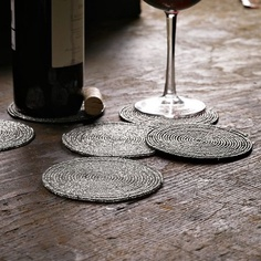Beaded Coasters - traditional - barware - West Elm