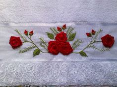This Pin Was Discovered By Towel Embroidery, Hand Embroidery Art, Embroidery Flowers Pattern, Silk Ribbon Embroidery, Flower Patterns, Embroidery Stitches, Brazilian Embroidery, Satin Flowers, Ribbon Work