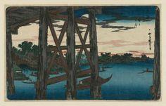 Evening Moon at Ryôgoku Bridge (Ryôgoku no yoizuki), from the series Famous Places in the Eastern Capital (Tôto meisho) 「東都名所 両国之宵月」 Japanese, Edo period, about 1831–32 (Tenpô 2–3) Artist Utagawa Hiroshige I, Japanese, 1797–1858