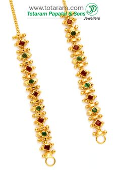 Check out the deal on 22K Gold Ear Chain (Matilu) - 1 Pair with Ruby & Emerald at Totaram Jewelers: Buy Indian Gold jewelry & 18K Diamond jewelry