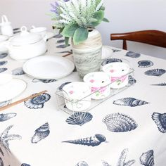 Tablecloth Shell Ocean Style Table Cover Linen Cotton European 9 Sizes #Kitchen_Decoration #Kitchen_Table_Decoration #Kitchen_Accessories