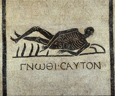 Ancient Roman mosaic of a reclining skeleton pointing to a Greek inscription ('Know thyself'), Baths of Diocletian, Rome. Picasso Guernica, Pablo Picasso, Ancient Rome, Ancient History, Greek History, Naples Museum, Appian Way, Western Philosophy, 1st Century