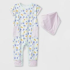 9b860731 Baby Girls' 2pc Short Sleeve Floral Pocket Romper And Bib Set - Cat & Jack.  target.com