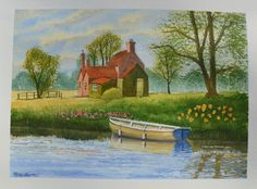 The Lock Keepers Cottage - A Terry Harrison tutorial. Watercolour Paintings, Watercolor Art, Nature Drawing, Nature Journal, House Art, Cottages, Journaling, Landscape, Drawings