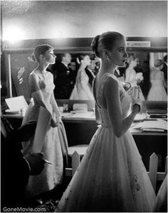 Audrey Hepburn & Grace Kelly, backstage at the 1954 Oscars.