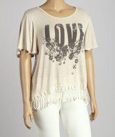 Another great find on #zulily! bena J Sand 'Love' Crochet Fringe Top - Plus by bena J #zulilyfinds