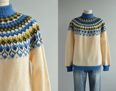 Vintage Nordic Sweater / Hand Knit Wool Fair Isle Pullover Patterned Yoke Cream Blue Olive / Made in Norway Rim Fair Isle Knitting, Hand Knitting, Knitting Designs, Knitting Patterns, Norwegian Knitting, Nordic Sweater, Icelandic Sweaters, Pullover, Knit In The Round