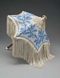 Woman's Parasol, circa 1840, England, silk knit with glass beads, wood, bone, and metal.
