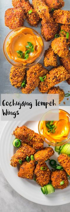These gochujang tempeh wings make use of the bold and umami-rich flavors of Korean cuisine in a protein packed vegan wing. They're easy to make and can be either baked or deep fried. They're sure to be a hit at your next party! | thecuriouschickpea.com #vegan #veganwings #koreanwings