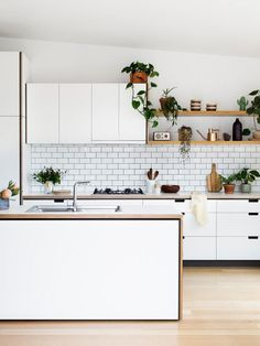 """Minimal Overhead Cabinets paired with Open Shelves, Full length Cabinets, Island (the right combination of my """"kitchen vision"""" save for the colour scheme and finishings) #kitcheninteriordesignrustic"""
