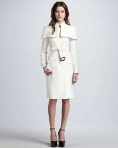 burberry white coate | Burberry Prorsum Caped Duchess Satin Trenchcoat in White - Lyst